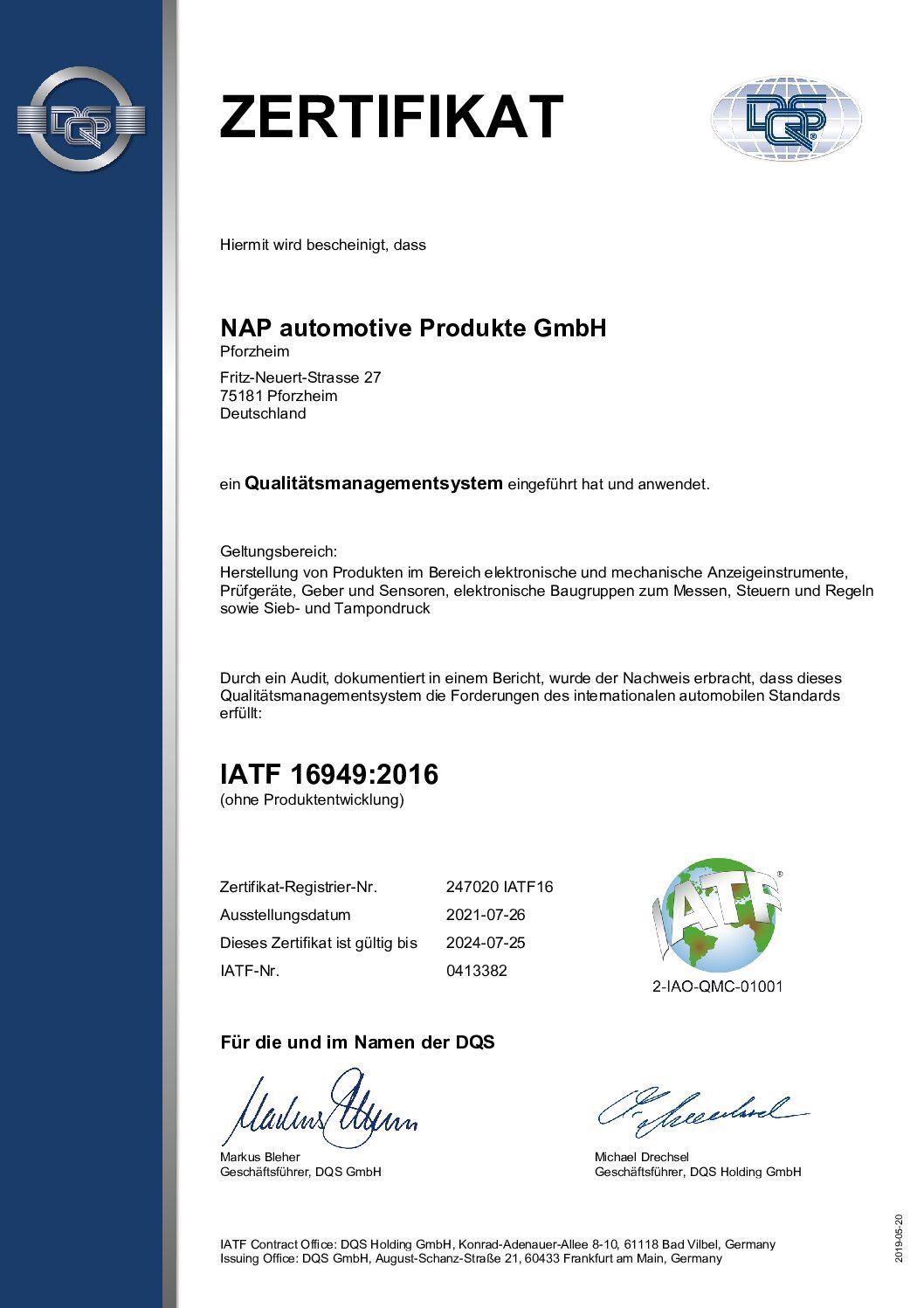 Zertifikat IATF 16949:2016